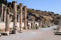 Columns of Ephesus. Columns near Odeon in the ancient town of Ephesus in Turkey Royalty Free Stock Photography