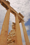 Columns of Erechtheion in Acropolis of Athens Greece Stock Photo