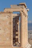 Columns of Erechtheion temple on Acropolis Royalty Free Stock Photo