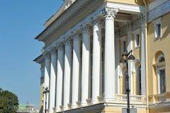 Columns on the facade of the Alexandrinsky theatre Stock Image