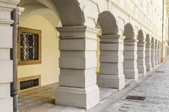 Columns on the facade of the building. Building with a beautiful colonnade that adorns the facade Royalty Free Stock Photo