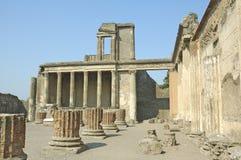 Columns and facade at pompeii Stock Photo