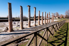 Columns and fence on Archeological area of Aquileia Stock Photo