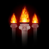 Columns with fire. Three ancient columns with fire blazing in darkness. Mystic illustration stock illustration