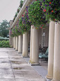 Columns and flowers. At a patio Royalty Free Stock Images