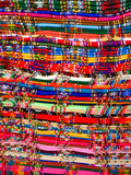 Columns of folded colorful blankets in bolivian street market, La Paz, Bolivia.  Royalty Free Stock Images