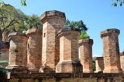 Columns at the foot of the Po Nagar Cham towers in Nha Trang Royalty Free Stock Image