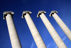 Columns in front of National Art Museum of Catalonia MNAC in Barcelona Stock Images