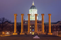Columns in front of University of Missouri building in Columbia Royalty Free Stock Images