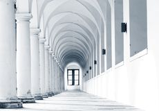 Columns. Gallery in old european gallery stock image