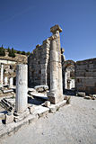 Columns, and Gate in Odeion. Ephesus, Izmir, Turkey Royalty Free Stock Photo