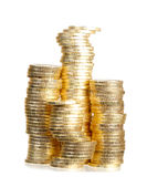 Columns from gold coins Royalty Free Stock Photos