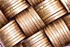 Columns of gold coins Royalty Free Stock Image