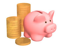 Columns of gold coins, near to a pig a coin box Stock Image