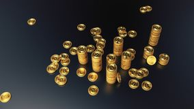 Columns of golden bitcoins 3d illustration vector illustration