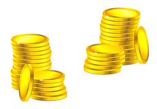 Columns of golden coins Royalty Free Stock Images