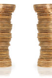 Columns of golden coins on both sides of the page Stock Images