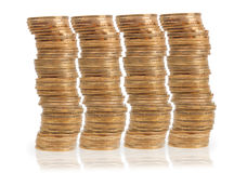 Columns of golden coins Royalty Free Stock Image