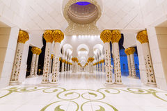 Columns of Grand Mosque in Abu Dhabi. At night, UAE Royalty Free Stock Image
