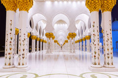 Columns of Grand Mosque in Abu Dhabi. At night, UAE Royalty Free Stock Photos