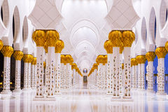 Columns of Grand Mosque in Abu Dhabi Stock Photos