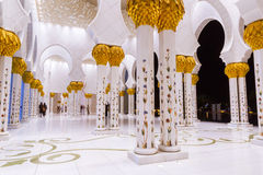 Columns of Grand Mosque in Abu Dhabi Stock Photo