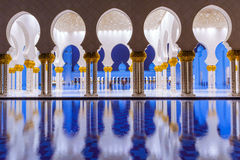 Columns of Grand Mosque in Abu Dhabi Stock Photography
