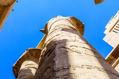 Columns in the great hypostyle hall of the Karnak temple stock photography