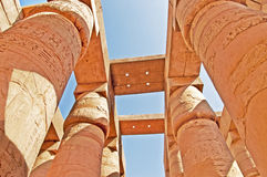 Columns of the Great Hypostyle Hall at the Temples of Karnak, Luxor, Egypt Stock Photo