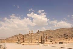 The columns of Great Palace at Persepolis (Iran) stock photography