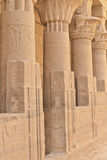 Columns of Hathor head goddess (Philae) Stock Photos