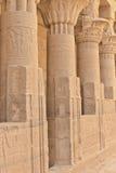 Columns of Hathor head goddess (Philae) Stock Photos