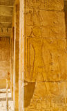 The columns in Hatshepsut Temple. With the preserved reliefs and hieroglyphs, Luxor, Egypt Stock Image