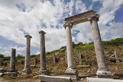Columns and Header in Historic Perga Royalty Free Stock Photo