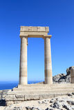 Columns of Hellenistic stoa. At Lindos Acropolis, Rhodes, Greece Stock Image