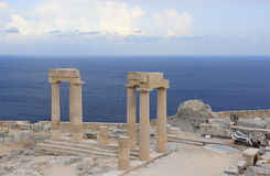 Columns of the Hellenistic stoa. Acropolis of Lindos. Rhodes, Greece. Royalty Free Stock Photography
