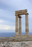 Columns of the Hellenistic stoa. Acropolis of Lindos. Rhodes, Greece. Stock Image