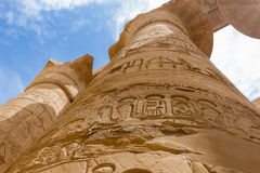Columns with hieroglyphs in the temple of the sun god in Egypt Royalty Free Stock Photos