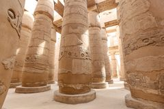Columns in Hypostyle Hall of Karnak Temple, Luxor, Egypt. Columns in Hypostyle Hall of Karnak Temple, Luxor City, Egypt stock images