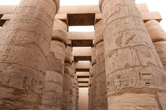 Columns in Hypostyle Hall of Karnak Temple, Luxor, Egypt. Columns in Hypostyle Hall of Karnak Temple, Luxor City, Egypt stock image
