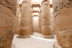 Columns in Hypostyle Hall of Karnak Temple, Luxor, Egypt. Columns in Hypostyle Hall of Karnak Temple, Luxor City, Egypt royalty free stock photos