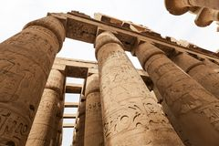 Columns in Hypostyle Hall of Karnak Temple, Luxor, Egypt. Columns in Hypostyle Hall of Karnak Temple, Luxor City, Egypt stock photos