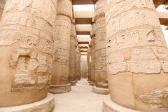 Columns in Hypostyle Hall of Karnak Temple, Luxor, Egypt. Columns in Hypostyle Hall of Karnak Temple, Luxor City, Egypt royalty free stock images