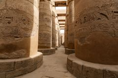 Columns in Hypostyle Hall of Karnak Temple, Luxor, Egypt. Columns in Hypostyle Hall of Karnak Temple, Luxor City, Egypt royalty free stock photo