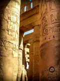 Columns in the Hypostyle Hall at the Temple of Karnak (Luxor, Eg. Detail of hieroglyphs in the columns of the Hypostyle Hall at the Temple of Karnak (Luxor Stock Photography