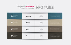 4 columns infographic table. Modern vector summary table with rows and columns Royalty Free Stock Image