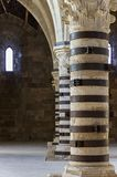 columns inside the Castello Maniace, Siracusa, Sicily stock photography