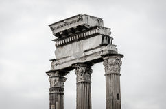 Columns inside the forum Romanus. 3 colomns Royalty Free Stock Images