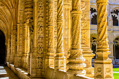 Columns inside the Jeronimos Monastery Royalty Free Stock Photos