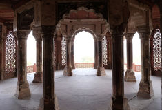 Columns inside palace of Agra Red Fort Stock Image